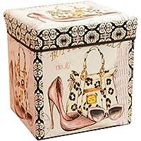 Preisvergleich für Faltbarer Sitzhocker stabiler Sitzwürfel mit trendigen Motiven Fußablage Sitzwürfel Aufbewahrungsbox 30x30x30cm, Schuhe