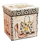 Faltbarer Sitzhocker stabiler Sitzwürfel mit trendigen Motiven Fußablage Sitzwürfel Aufbewahrungsbox 30x30x30cm, Schuhe