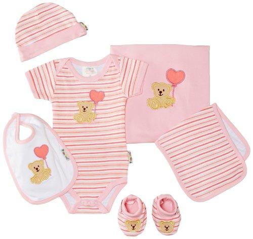 Playshoes Unisex - Baby Bekleidungsset Erstlingsset, Erstausstattung, Geschenk-Set Für Neugeborenee, 6-Teilig, Gr. One Size, Rosa (Rose) - 6 Teiliges Bekleidungs-set