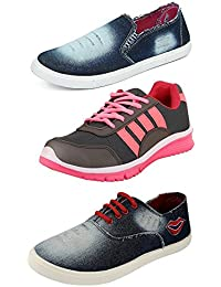 Chevit Women's Combo Pack Of 3 Loafers, Sneakers And Running Shoes (Casual Shoes)