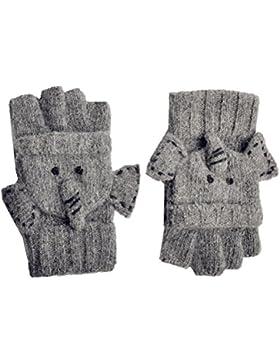 Yan y Lei elefante guantes de punto para mujer, talla única, color gris