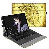 Fintie Hülle für Microsoft Surface Pro 6 (2018) / Pro 5 (2017) / Pro 4 / Pro 3 - Multi-Sichtwinkel Hochwertige Tasche Schutzhülle aus Kunstleder, Type Cover kompatibel, Weltkarte