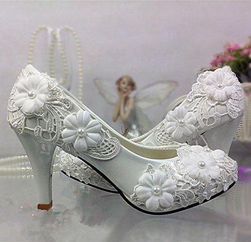 JINGXINSTORE Pizzo cristallo bianco Nozze Nuziale scarpe basse tacco alto pompa 5.5 cm wedge,white