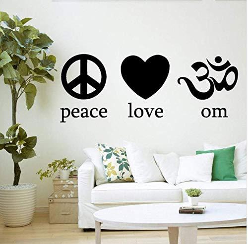 Frieden Liebe Yoga Symbol Geist Geist Körper Vinyl Wandtattoo Home Decor Kunst Wandbild Tapete Wandaufkleber 43x104 cm