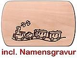 Frühstücksbrett Brotzeitbrett Eisenbahn 24 x 15 cm Holzbrett mit Namensgravur Frühstücksbrettchen Vesperbrettchen Holz