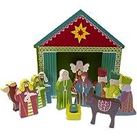 C BC Set Adorno Escena Nacimiento Navidad NiñosJesus 13 Piezas Madera