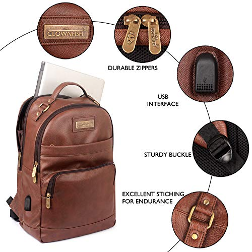 The Clownfish Victor 27 liters Vegan Leather Mature Unisex Laptop Backpack for 14 inch Laptop (Amber) Image 7