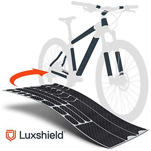 fahrrad carbon rahmen Luxshield Fahrrad Lackschutzfolie für Mountainbike, BMX, Rennrad, Trekkingrad etc. - 21-teiliges Rahmen-Set gegen Steinschlag - Carbon Optik & selbstklebende Qualitätsware aus Deutschland