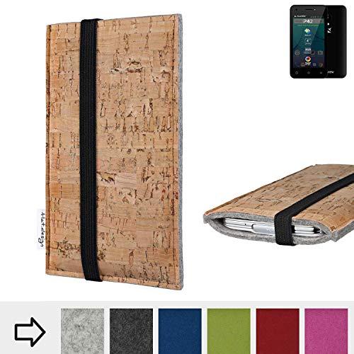 für Allview P42 Schutztasche Handy Hülle SINTRA mit Korkstoff (Natur) und Gummiband-Verschluss (schwarz) - maßgefertigte Handytasche Schutz Hülle aus 100% Wollfilz (hellgrau) für Allview P42