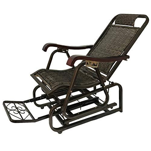 LIXIONG Schaukelstuhl All Wetter Sessel Falten Lounge-Sessel PE Wicker Sonne Liegen Balkon Hinterhöfe Schaukelsitz Einstellbar Fußstütze (Color : Black, Size : 145x65x105cm) -