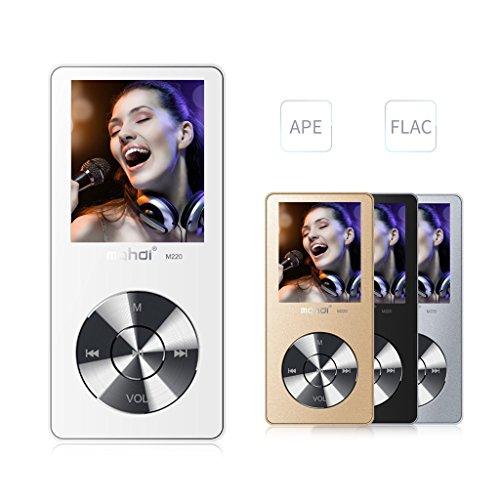 mymahdi 8GB Tragbarer MP3-Player (erweiterbar auf bis zu 128GB), Musik Player/one-key Voice Recorder/FM Radio 70Stunden Wiedergabe mit externe Lautsprecher HD Kopfhörer, Weiß