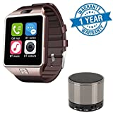 #6: Lenovo A2010 Compatible Certified Bluetooth Smart Wrist Watch Phone With Camera & Sim Card(Gold) with S10 Bluetooth Speaker(1 Year Warranty)