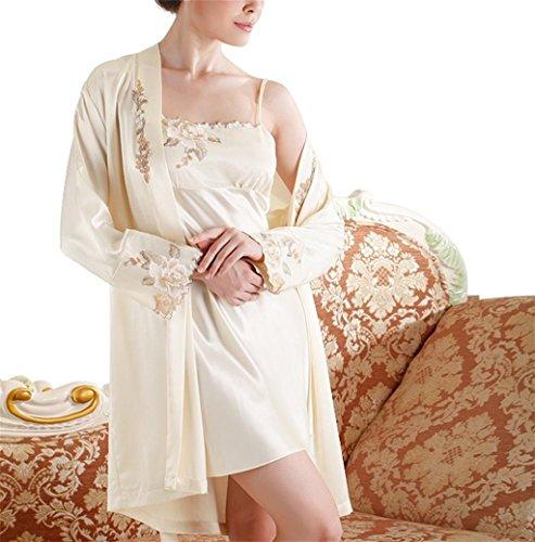 DZW Frauen Pyjamas Sexy Satin Dessous Nachtwäsche Robes Night Gown Nachtwäsche , 6022 meters yellow (big) , xl (170/96a) (Muster Runde Ball Kostüm)