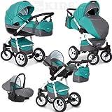 Riko NANO 3in1 Kombikinderwagen Babywanne Buggy Autositz Babyschale 0-13 kg Multifunktional und mit XXL Ausrüstung, Farbe:Malachit