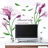 Gleecare Wandaufkleber Grüne abnehmbare lila Traum Blume TV Sofa Schlafzimmer Hintergrund Wandtattoo