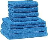 NatureMark 8 TLG. FROTTIER Handtuch-Set mit verschiedenen Größen 4X Gästetücher, 2X Handtücher, 2X Duschtücher | Farbe: Royal blau | 100% Baumwolle