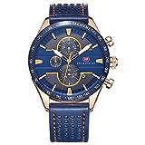 Mini Focus Herren Fashion Analog Quarz echtem Lederband Uhren für MAN CLASSIC Armbanduhr für Herren Jährliche 2018blau