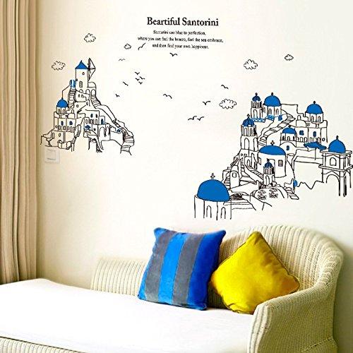 Preisvergleich Produktbild Wmbz Wandaufkleber Wohnzimmerschlafzimmersofa-Hintergrundwandaufkleber Europäisches Mittelmeerartgebäude Santorini