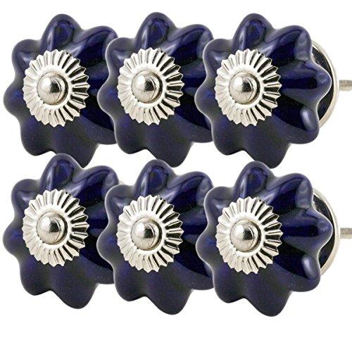 auf Möbelgriff Set Nr.57 6er dunkel blau Keramik Porzellan handbemalte bunte Vintage Möbelknöpfe für Schrank, Schublade, Kommode, Tür - Jay Knopf (Blaue Knopf Ca)