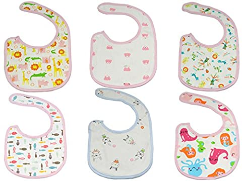 Jiexi® 6pcs 100% Cotton Beautiful Unique Baby Bibs Toddler Bandana Bib Set Kit Neck Straps Dribble Bibs For Boys&Girls Dinner Outdoor Play Daily Use
