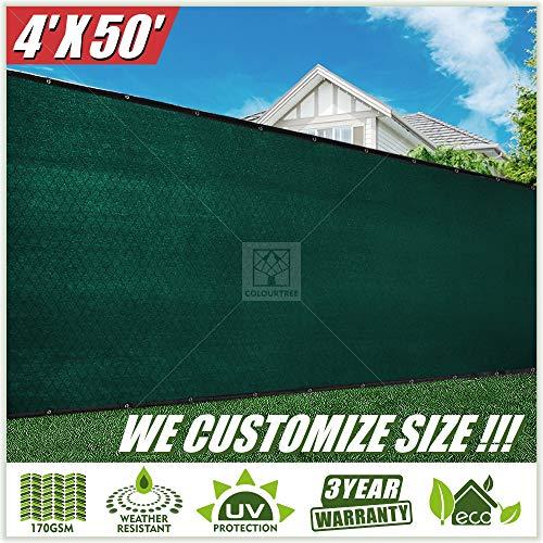 ColourTree grün Zaun Sichtschutz Windschutzscheibe Bezugsstoff Schatten Plane Netz Mesh Tuch Handelsgüte, 170GSM-Heavy Duty-3Jahre Garantie-Custom 4' x 50' Green 2nd Generation Gsm-netz