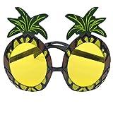 Estilo hawaiano novedoso en la playa Gafas con forma de piña divertidas para disfraces Suministros para eventos de fiesta - Amarillo y negro