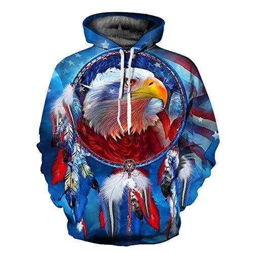 Unisex Winter 3D-Mode-Persönlichkeit Pullover Hoodie, lässiges leichtes Sweatshirt und Tasche S-XXL,122,M