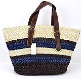 UGG AUSTRALIA WOMAN SEA SHOULDER BAG STRAW BLUE/BROWN/CREAM CODE TE047 UNICA - ONE SI...