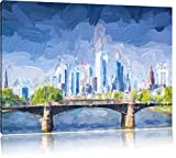 interessante Skyline von Frankfurt am Main Format: 120x80 auf Leinwand, XXL riesige Bilder fertig gerahmt mit Keilrahmen, Kunstdruck auf Wandbild mit Rahmen, günstiger als Gemälde oder Ölbild, kein Poster oder Plakat