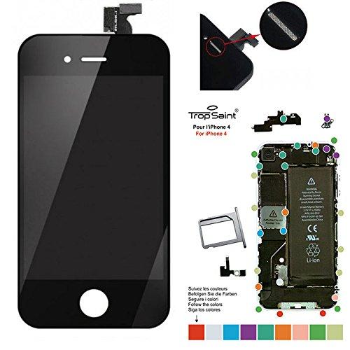trop saint® Ersatz Display für iPhone 4 LCD Einheit Schwarz Reparaturset Kompatibel iPhone mit Magnetische Schraubenkarte und Werkzeug (Iphone 4 A1332)