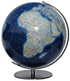 COLUMBUS DUO AZZURO Leuchtglobus: 40 cm Durchmesser, handkaschiert auf Kristallglas-Kugel, OID-Code, unbeleuchtet politisch m. Kontinent-Vignettierung ... Meridian und Fuß Metall, Edelstahl, matt