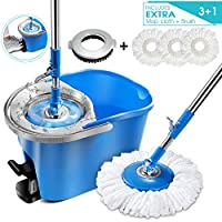 Magic Foot Pedal Spin Mop and Bucket Set with 3 Pcs Refill Mop Pads 1Pcs Brush Head Microfiber Mop for Floor