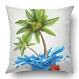 TEPEED Throw Pillow Covers Green Island Water Splash Palms Blue Tree Tropical Beach Sand Plant Sea Summer Polyester 18 X 18 inch Square Hidden Zipper Decorative Pillowcase