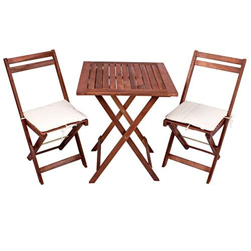 Balkon-Set Pattaya aus Akazienholz - Tisch mit 2 Stühlen und Sitzauflagen