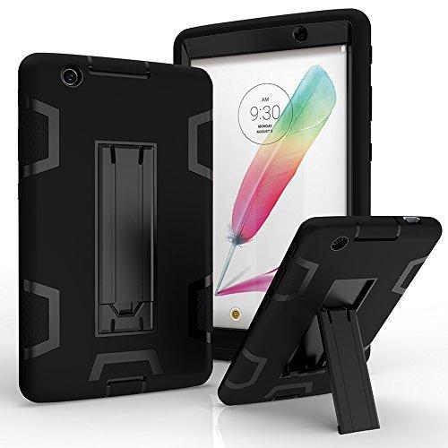 LG G Pad X 8.0 Hülle, LG G Pad III 8.0 Hülle, Kuteck Defender Armor Hybrid Case Full Body Cover Stand LG G Pad 3 8.0 / G Pad X 8.0 + Stylus Pen, schwarz/schwarz