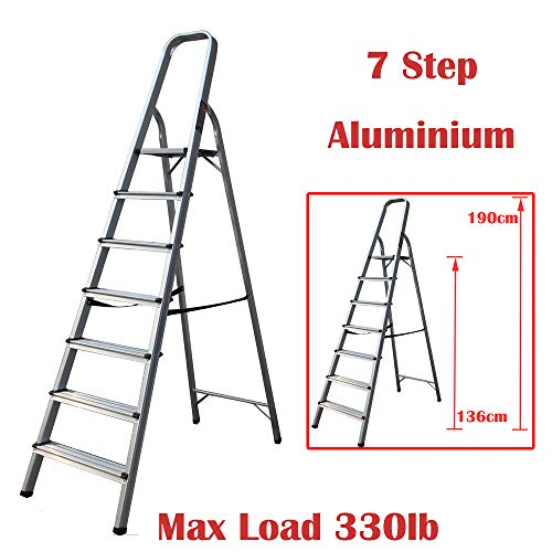 Escalera plegable multiusos de 7 peldaños de aluminio antideslizante, carga máxima de 150 kg