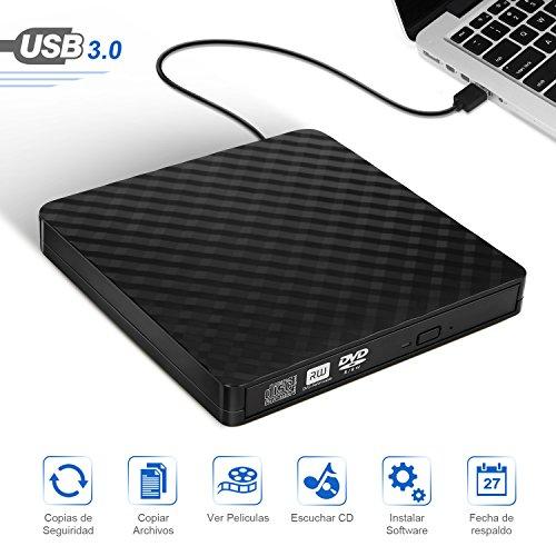 LOETAD Grabadora CD/DVD Lector de CD Externa Portátil con USB 3.0 y Capacidad de Corrección de Errores y Diseño Antichoque Compatible con Windows/Mac OS para Apple/iMac/Macbook Air/PC/Notebook y etc.