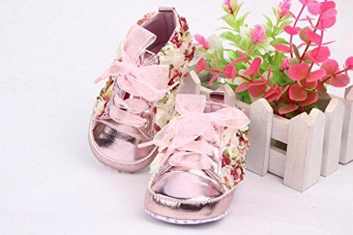 Smile YKK Bébé Chaussure Premier Floral Chaud Souple Pour Enfant Sole Dérapage Rose