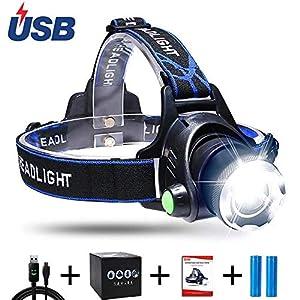 AUKELLY Linternas Frontales LED Recargable Linterna Frontale Alta Potencia,LED Linterna Cabeza 3 Modos de luz,Frontale Linterna 1000 Lumen,USB Linterna Frontal para Camping,con 18650 Baterías