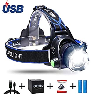 Aukelly LED Headlamp Head Torch USB Head Torches Rechargeable,LED Head Lamp Super Bright,Waterproof,Zoomable,4 Modes,Headlamps Rechargeable XML-T6 Headlamp,for Camping,Hiking,Include 18650 Battery