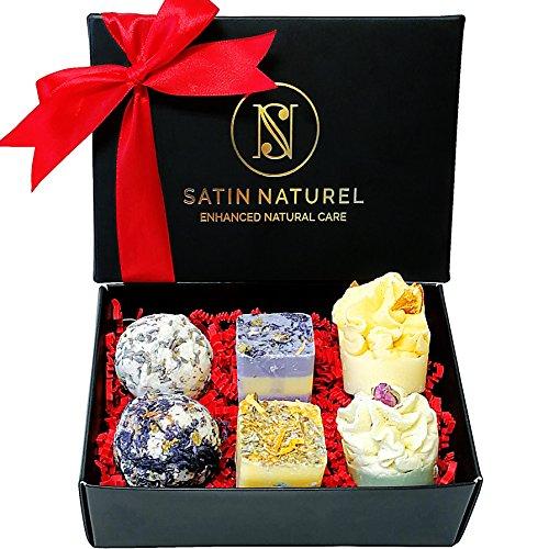 Bio Badepralinen Geschenkset Divine Moments/Edles Geschenk von höchster Qualität/Badekugeln Weihnachtsgeschenk in hochwertiger Geschenkbox mit Satin Schleife/Vegane Geschenk-idee für die Frau