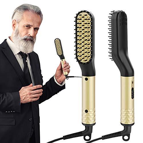 Lisseur Barbe Homme, ANLAN Rapide Lisseur de Barbe Peigne Cheveux Fer À Friser Redresser Chauffage en Céramique PTC Contrôle de Double Tension (110V-240V)