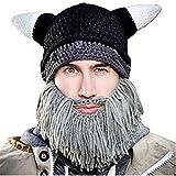 Maibar Sombrero de Punto Hecha a Mano Estilo Viking Tapa cálida Halloween Divertida Tapa Falso Beard Party Decoración (Gris)