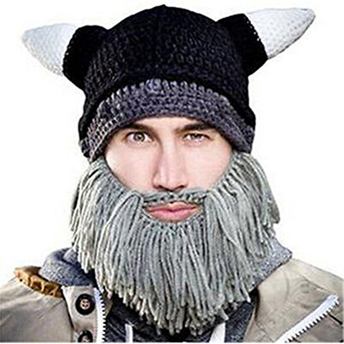 Gestrickter Hut Handgemachter Wikinger-Art-warme Kappe Halloween-lustige Kappe Falsche Bart-Party-Dekoration (Kostüme Bart Wikinger)