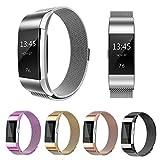 Fitbit Charge 2 Armband, einBand Milanese Schlaufe Edelstahl Armband Smart Watch Armbänder mit einzigartiger Magnetverriegelung und keine Schnalle notwendig für Fitbit Charge 2, Silber, Small
