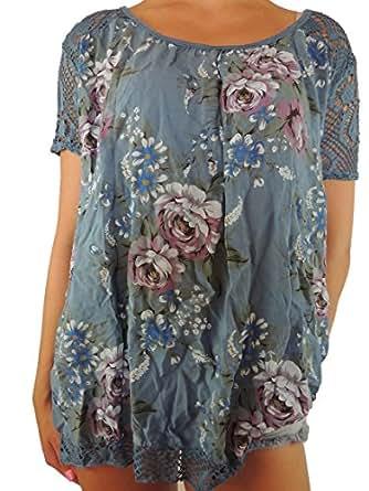 11 verschiedene Farben Damen Blusen Shirt mit Blumenmuster Gr. 42 44 46 48 50 (Blau-ton)