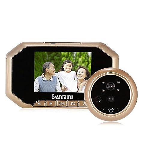 3.5 Pouces LCD Porte Spectateur, Sonnette sans Fil, Portier Interphone, Visiophone Vidéo, Caméra Vidéo, Fonction de Vision Nocturne, Metal en Alliage de Zinc,Deux Couleurs Or