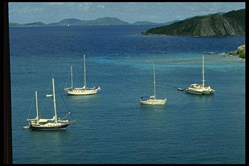 588057 Four Boats At Anchor Dead Man's Bay British Virgin Islands A4 Photo Poster Print 10x8