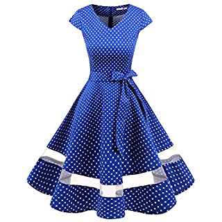 Gardenwed 1950s Rockabilly Cocktail Party Swing Dress Retro Ladies Dresses Vintage Dresses for Women Royal Blue Small White Dot L