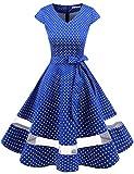 Gardenwed Damen Vintage 50er Cap Sleeves Retro Cocktailkleid Rockabilly Petticoat Faltenrock Hepburn Stil Abendkleid Royal Blue Small White Dot 2XL